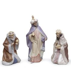 LLADRO - SET THREE WISE MEN (PORCELAIN) fine gift, wise men, set three, presepi porcellana, three wise