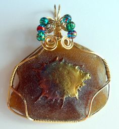 Wire Wrapped Rootbeer Beach Glass Pendant $55.00