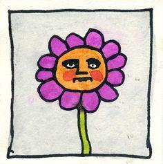 """$40, flower, ink, 4.5""""x4.5"""""""