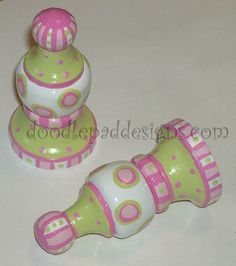 Hand Painted Curtain Rod Finials - Picture idea only