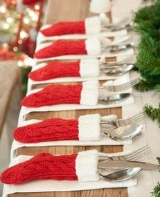 Cute Christmas Table Decoration Idea!  I found a pretty good deal on a set of 12 too!  Awesome Idea!!