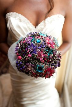 Hot Pink, purple, turquoise brooch bouquet.