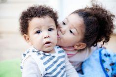 sibling kiss @ biracial & mixed hair