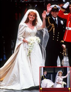 """THE MOST AMAZING WEDDING GOWNS EVER DUCHESS OF YORK SARAH FERGUSON """"There will never be a dress to match it,"""" Sarah Ferguson has said of the Lindka Cierach ivory duchess satin gown she wore for her 1986 nuptials to Britain's Prince Andrew. It featured a large beaded 'A"""" for Andrew on the bottom of the 17 foot train"""
