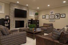 Great basement color scheme to lighten it up. picture arrangements, paint color, fireplac, famili, basement decorating, decorating ideas, family rooms, media rooms, benjamin moore