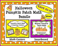 Halloween Pumpkin Patch Math Bundle:  Smart Board and Learning Centers (Multiplying Decimals by Whole Numbers)