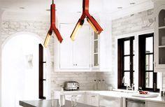 Gorgeous kitchen using the Branch Chandelier (BRW)
