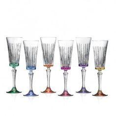 Jogo de taças 06 pçs champagne Timeless cristal multicolor 210 ml