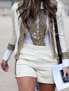 lovely combination white and gold street style shorts and jacket - beaded