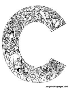 Initials for coloring... filled with things that start with the letter