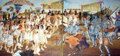 Rey N. - This is a picture of the conquering of the Aztecs by the Spanish. Reterritorialization is when a culture takes on parts from different cultures, but changes them to be their own. When the Spanish conquered the Aztecs, they removed specific Aztec beliefs such as their god and put in their own beliefs. The Aztec culture took those ideas and incorporated them into their culture.