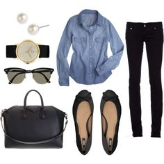 Denim & black. Casual outfit
