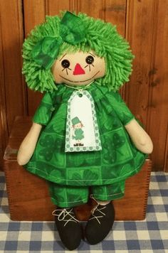 Handmade Irish Raggedy Ann Doll with Green Hair for St Patricks Day
