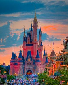 Cinderella's Castle at sunset. walt disney, dream, disney princesses, sunset, cinderella castl, magic kingdom, star, disney castles, place