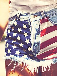 4th of July outfit..cut off an old pair of jeans and sew on stars and stripes fabric to the front