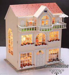 DIY Custom European Style Wooden DollHouse Dolls House & Furnitures & Lighting