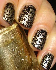 lace nail designs, gold nails, nail art black lace, black nails, nail arts, birthday nail art designs, chihuahua, black lace nails, lace nail art