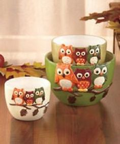 Owl Kitchen Decor New Set Of 3 Harvest Owl Tabletop Bowls Autumn Kitchen Ware Decor