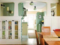 art crafts, green walls, color, column, design kitchen