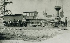 First train went through Plain City, Ohio on July 4, 1853. Columbus, Piqua & Indiana railroad locomotive photo.