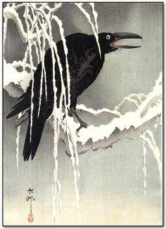 """Crow on a Snowy Branch"" (ca1910-20's) by Koson Ohara"