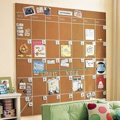 Corkboard calendar - I like that you can pin tickets and invites right on the board!