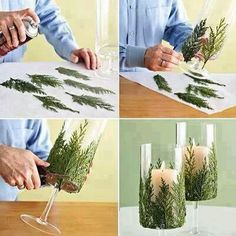 fern, holiday, candle crafts, centerpiec, photo tutorial, candle holders, glass, christmas candles, candle decorations