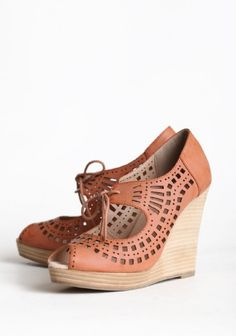 Mindy Lace Up Wedge   Modern Vintage Shoes