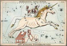 "Monoceros and Canis Minor. Urania's Mirror, based on Alexander Jamieson's Celestial Atlas. (Credit: Ian Ridpath) Mona Evans ""Monoceros the Unicorn"" http://www.bellaonline.com/articles/art182324.asp"