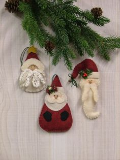 Santa Ornament  Pins Collection II Pattern christmas crafts, outdoor christmas decorations, santa ornament, craft patterns, applique patterns, felt ornaments, felt christmas ornaments, felt applique, felt santa