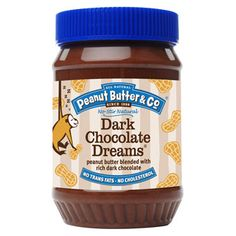 Dark Chocolate Dreams  Our all natural peanut butter blended with rich dark chocolate. It's like a peanut butter cup in a jar! Great on a sandwich, but just as wonderful spooned over ice cream, spread on fruits, or simply eaten out of the jar. It's equally delicious as an ingredient in your all-time favorite baked goodies like chocolate cake and bread pudding. It contains no cholesterol, no trans fats, no hydrogenated oils, and no high-fructose corn syrup.gluten-free, certified vegan