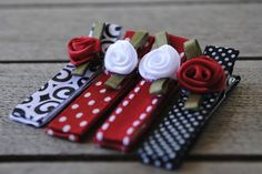 red and black hair clips