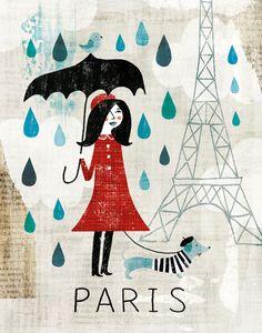 Rainy Day in Paris Art Print by Michael Mullan | Society6