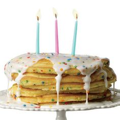 Birthday Pancakes  1) Mix batch of boxed yellow cake batter & add in sprinkles.   2) Ladle the batter into a nonstick skillet or griddle preheated with butter.   3) Flip once bubbles form on top, about 3 minutes, and cook until done, an additional 2 to 3 minutes.   4) Mix water and powdered sugar until drizzly, then top!    http://www.rachaelraymag.com/recipe/birthday-pancakes/