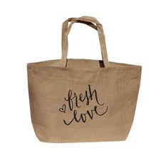 Fresh Love // Burlap Market Tote by yoursistheearthshop on Etsy