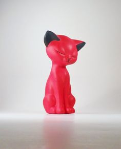 Red Kitty Cat Ceramic Figurine