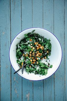 green curry kale + crispy coconut tempeh
