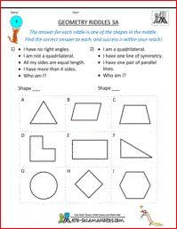 Geometry Riddles 3A, 3rd grade geometry riddles