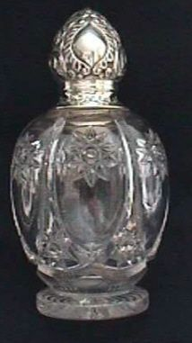 English Perfume Bottle with Silver Top