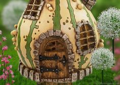 striped gourd house in the spring fairy garden.
