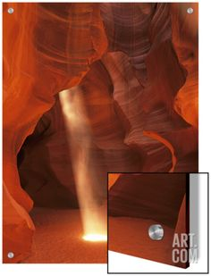 Sunbeam Illuminates Sandy Floor and Sandstone Walls of a Slot Canyon, Antelope Canyon, Page Art on Acrylic by Dennis Flaherty at Art.com