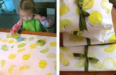 craft, gift wrapping, wrap paper, kid art, homemade gifts