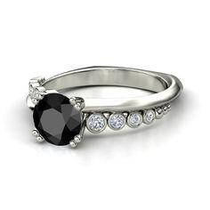 Round Black Diamond 14K White Gold Ring with Diamond | Isabella Ring | Gemvara