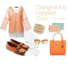 """""""Orange is the Happiest Color"""" by hushpuppiesshoes on Polyvore"""