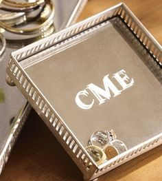 Gifts for the Bride:  Small Monogrammed Mirrored Dresser-Top Tray @ Pottery Barn