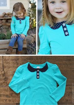 Easy DIY peter pan collar shirt for kids #sewing #fashion - Check out my other pins as guest pinner for @FaveCrafts this month!