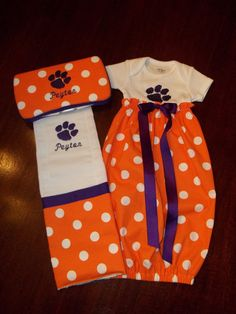 Baby Girl Clemson Gift Set by SewSweetTs on Etsy, $45.00