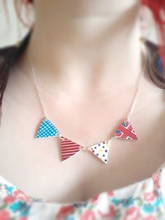 Bunting necklace, retro, flag olympic theme. Handmade kitsch Jewelry Britsh countryside style pendant. £14.00, via Etsy.