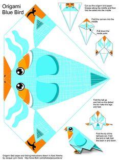 origami blue bird paper toy #free #printable #kids #diy #crafts