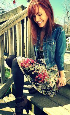 floral dress + denim jacket